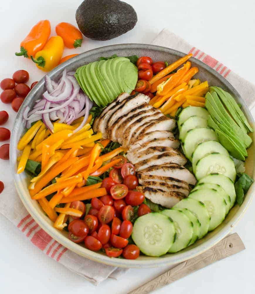 Rainbow Grilled Chicken Salad is a great way to get your veggies in!