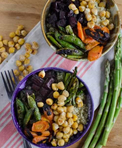 Quick and easy roasted chickpea and vegetable 1uinoa bowl is gluten free, meatless and full of vegetables.