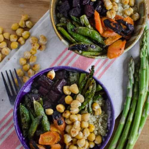 Roasted Chickpea and Vegetable Quinoa Bowls (Meatless/GF)