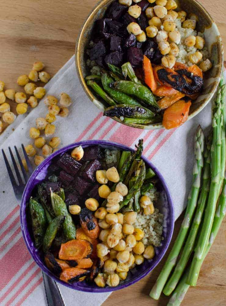 Roasted Chickpea and Vegetable Quinoa Bowls (Meatless/GF) - Bless This ...