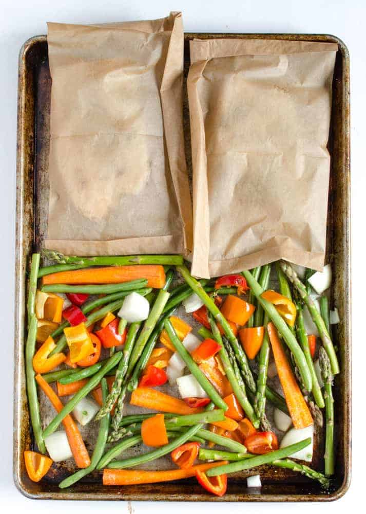 Simple Roasted Tilapia and Vegetables (easy healthy 20 minute sheet pan dinner)
