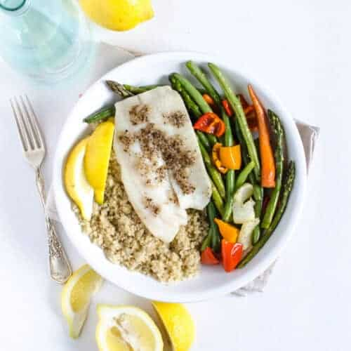 Simple Roasted Tilapia and Vegetables (easy 20 minute sheet pan dinner)