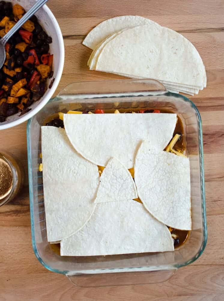 Enchilada Bake - Layering