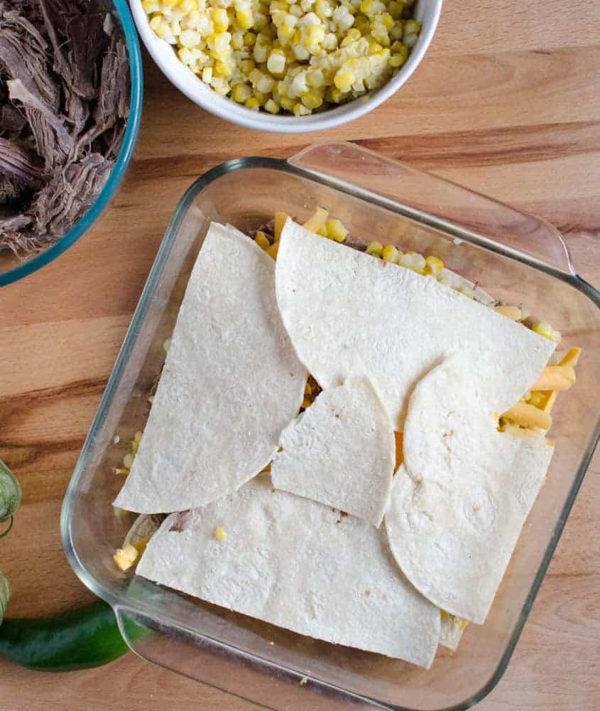 Corn Enchilada Bake Layering