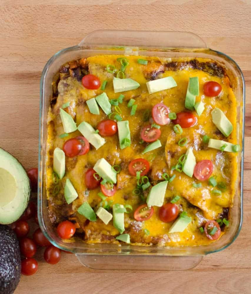 Enchilada Bake - You won't even notice that this Black Bean & Sweet Potato Enchilada Bake is meatless!