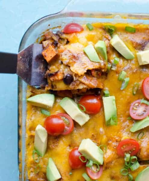 Image of a black bean and sweet potato enchilada bake