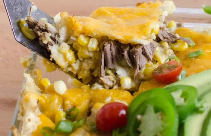 Shredded Meat and Corn Enchilada Bake