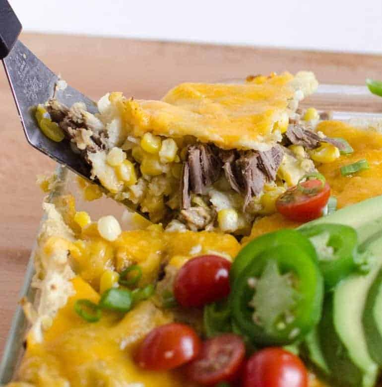 Easy Shredded Meat and Corn Enchilada Bake