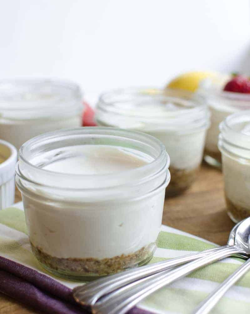 Healthy No-Bake Cheesecake is free of eggs, gluten, and refined sugar