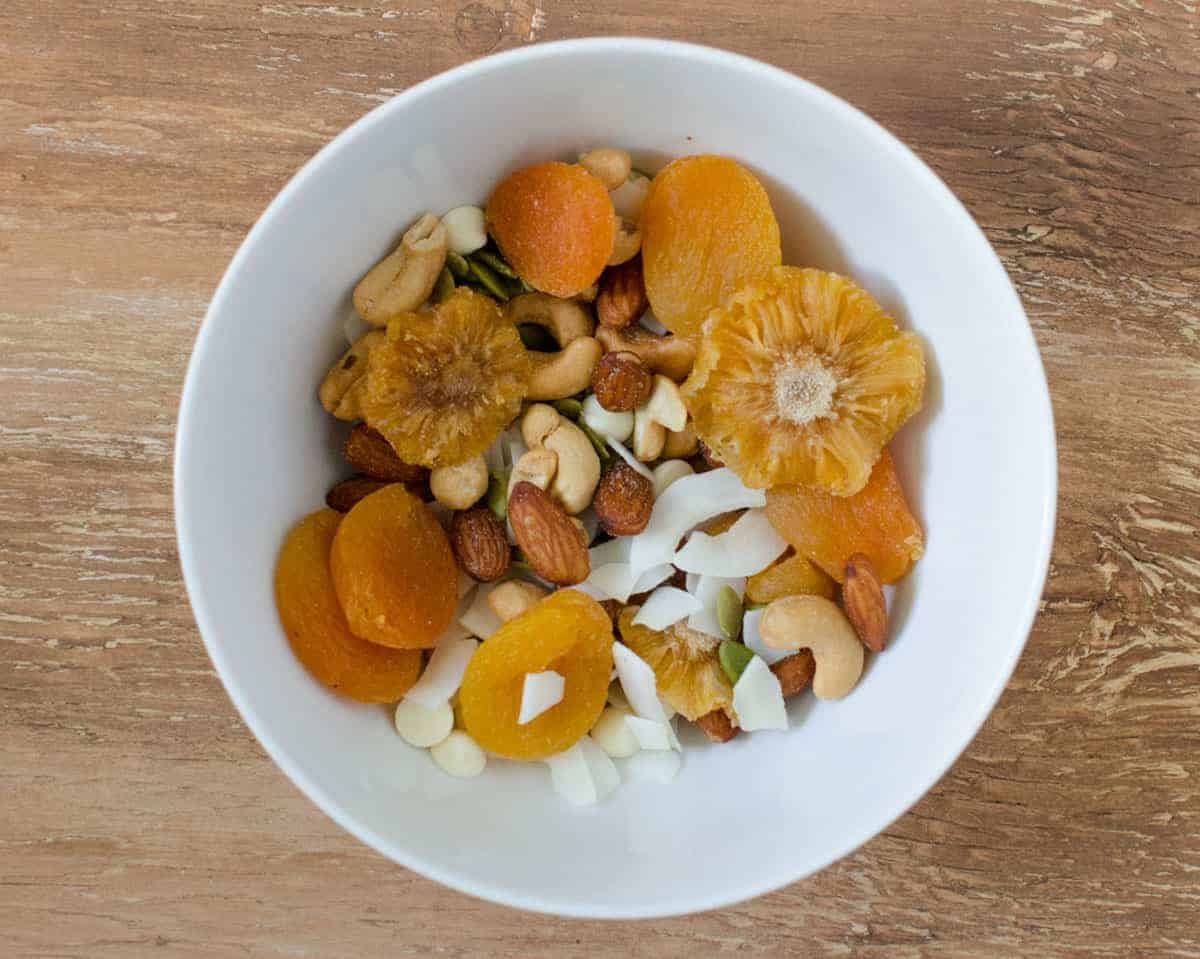Trail Mix - Dried pineapple and apricots, salted almonds, cashews, white chocolate chip, pumpkin seeds, and coconut chips (my personal favorite!).