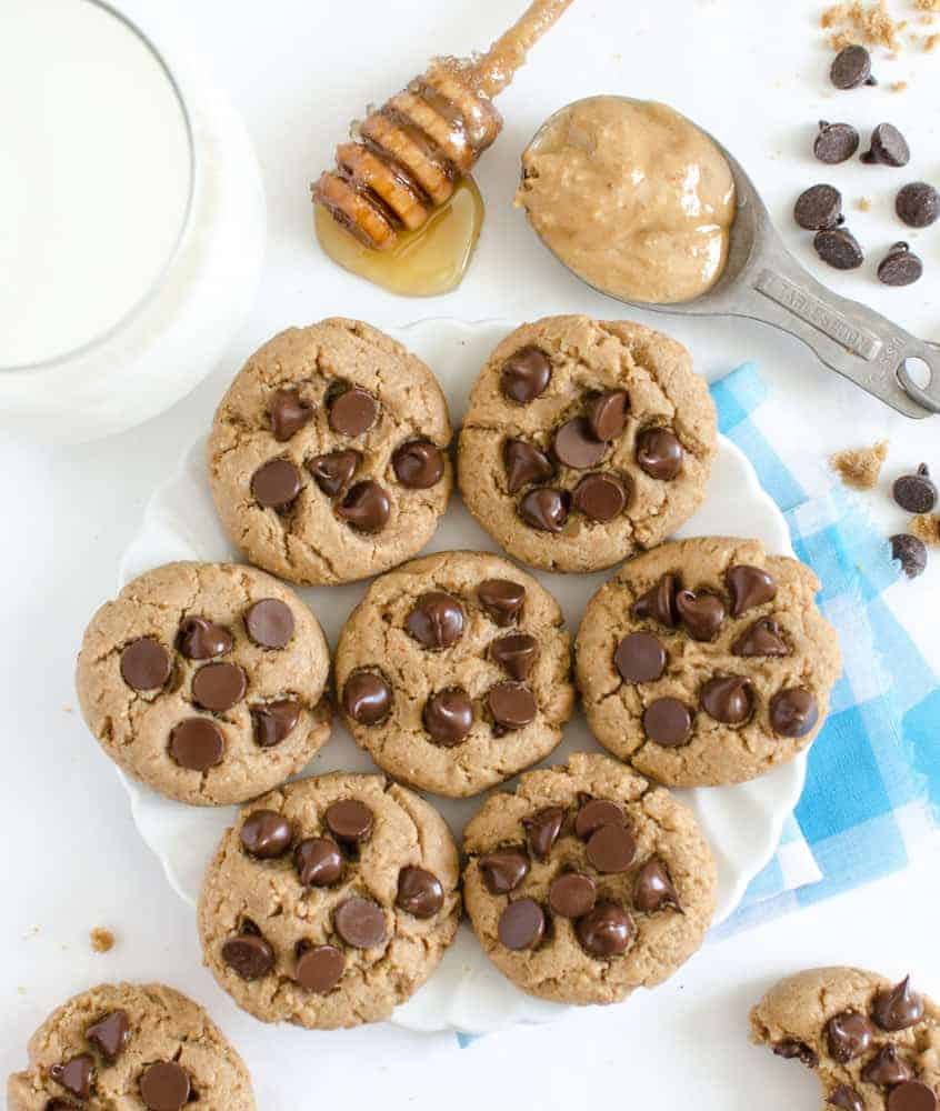Whole Wheat Peanut Butter Cookies with Chocolate Chips - sweetened with honey