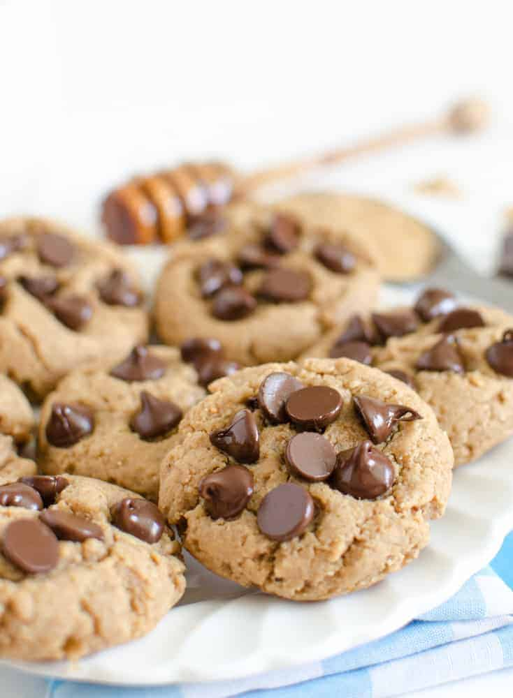Whole Wheat Peanut Butter Cookies with Chocolate Chips are sweetened with honey, and are a healthier version of the classic favorite.