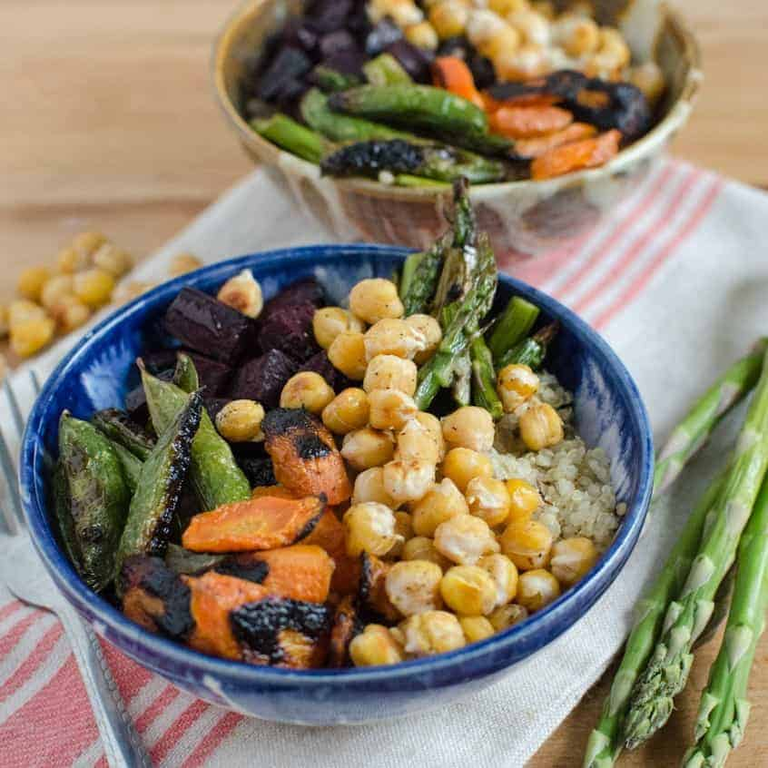 Roasted Chickpea and Vegetable Quinoa Bowls
