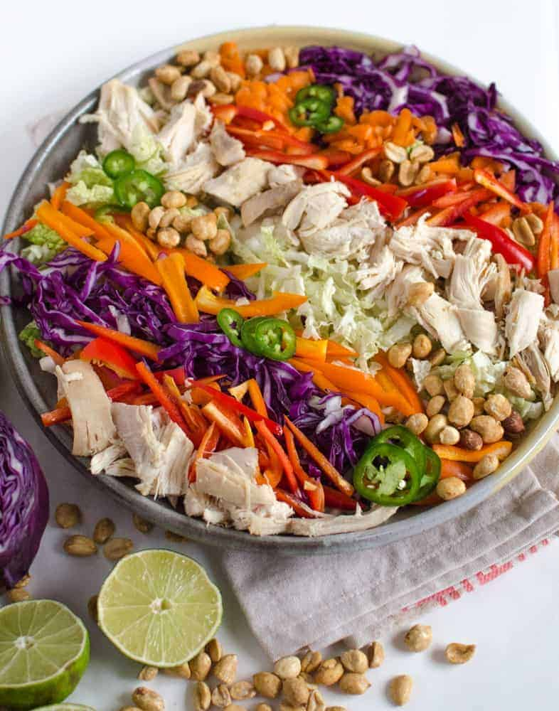Asian Chicken Salad - This Asian Chicken Salad with Peanut Lime Dressing is a healthy and colorful way to eat the rainbow.