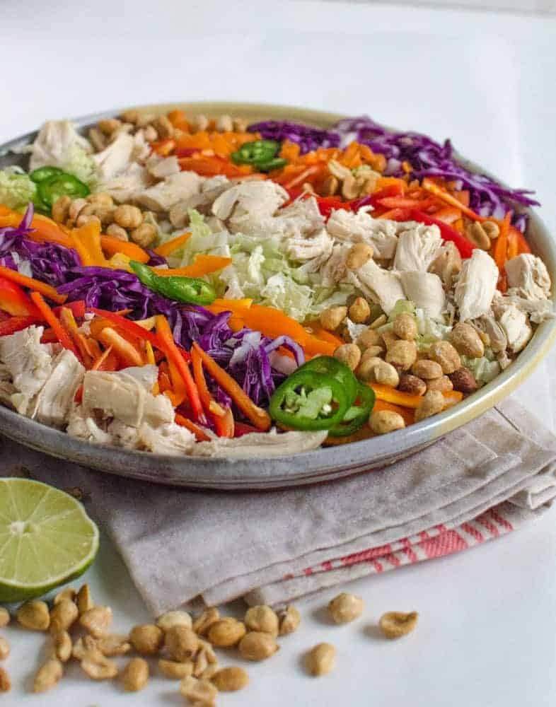 Asian Chicken Salad with Peanut Lime Dressing is healthy, easy, and quick.
