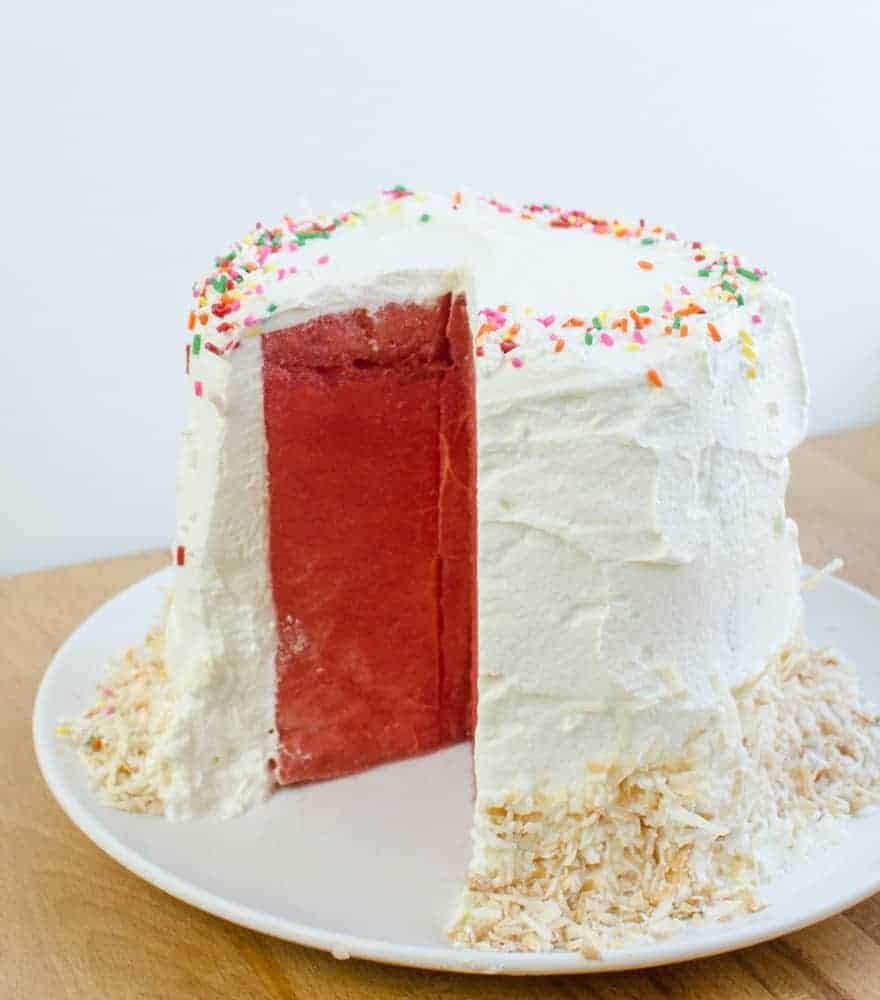 Watermelon Cake with Whipped Cream is a fun, easy dessert.