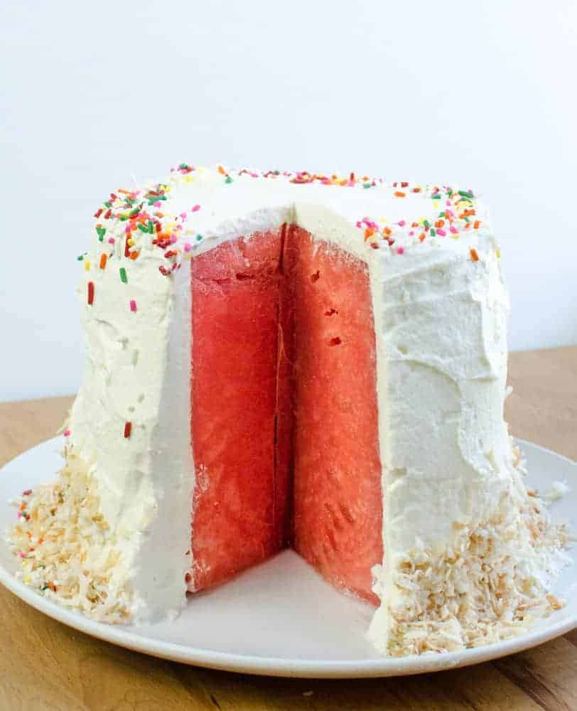 Watermelon Cake with Whipped Cream for a fun birthday treat.
