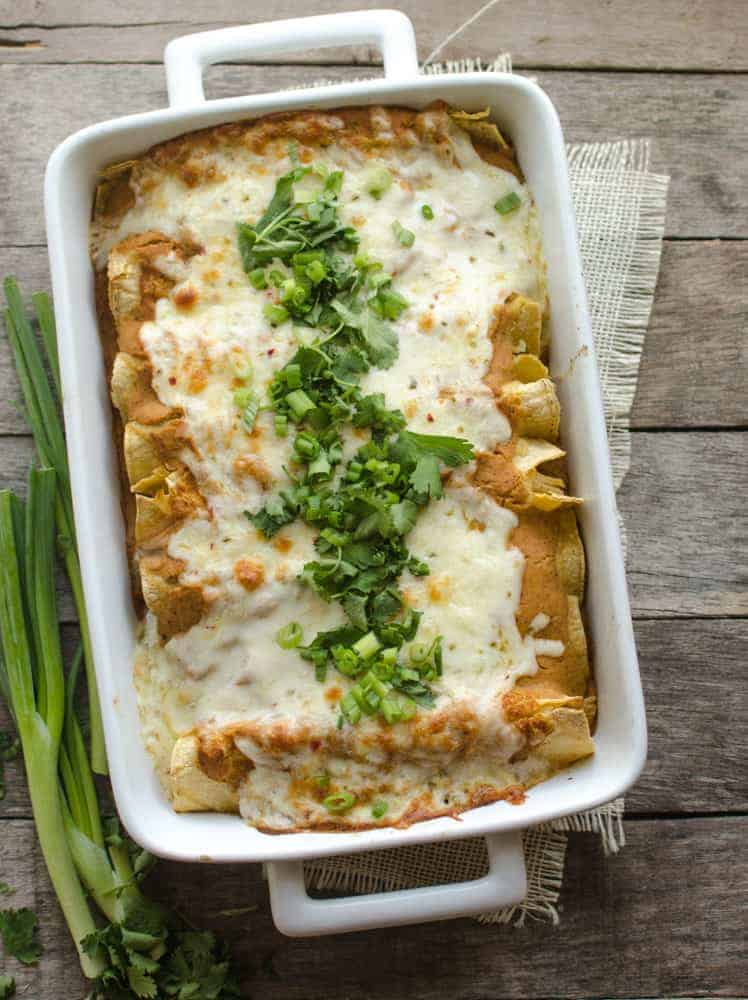 Creamy Pumpkin Chicken Enchiladas