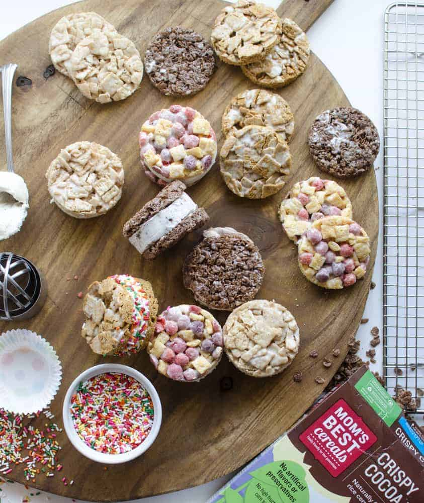 Cereal Ice Cream Sandwiches with Mom's Best Cereals - the flavor possibilities are endless!