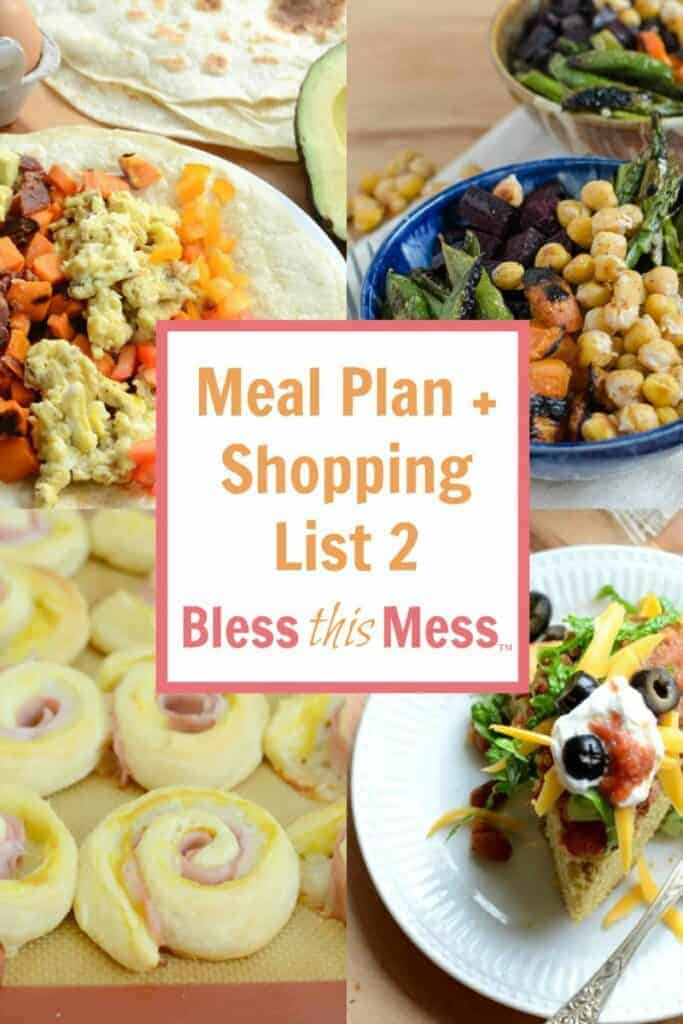 Title Image for Meal Plan + Shopping List 2 with examples of four different meals