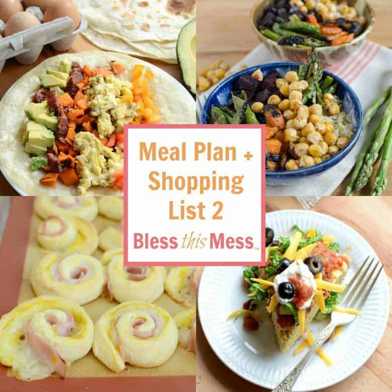 Easy Family Meal Plan 2 with Printable Shopping List