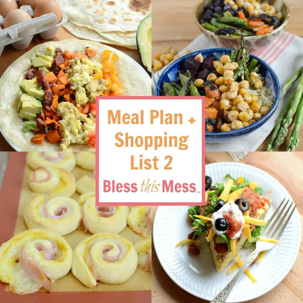 Easy Family Meal Plan 2 + Printable Shopping List