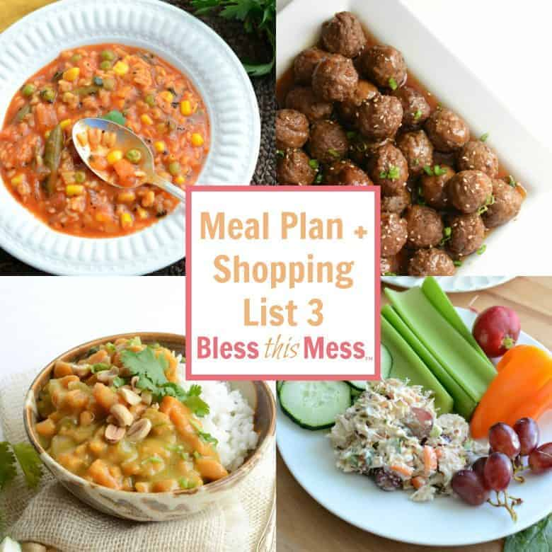 Free Meal Plan 3 with Printable Shopping List