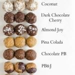8 varieties of energy balls with a description for each