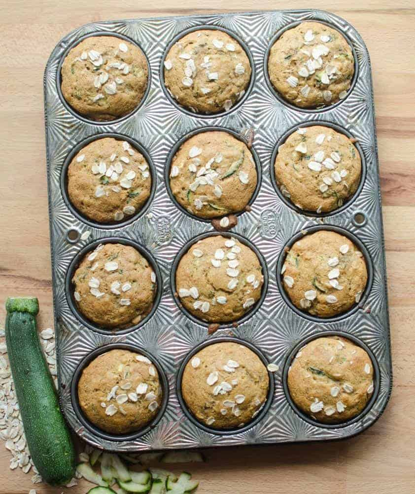 These Whole Grain Zucchini Muffins are made with whole grains, natural sweeteners, and vegetables. Your whole family will love them!