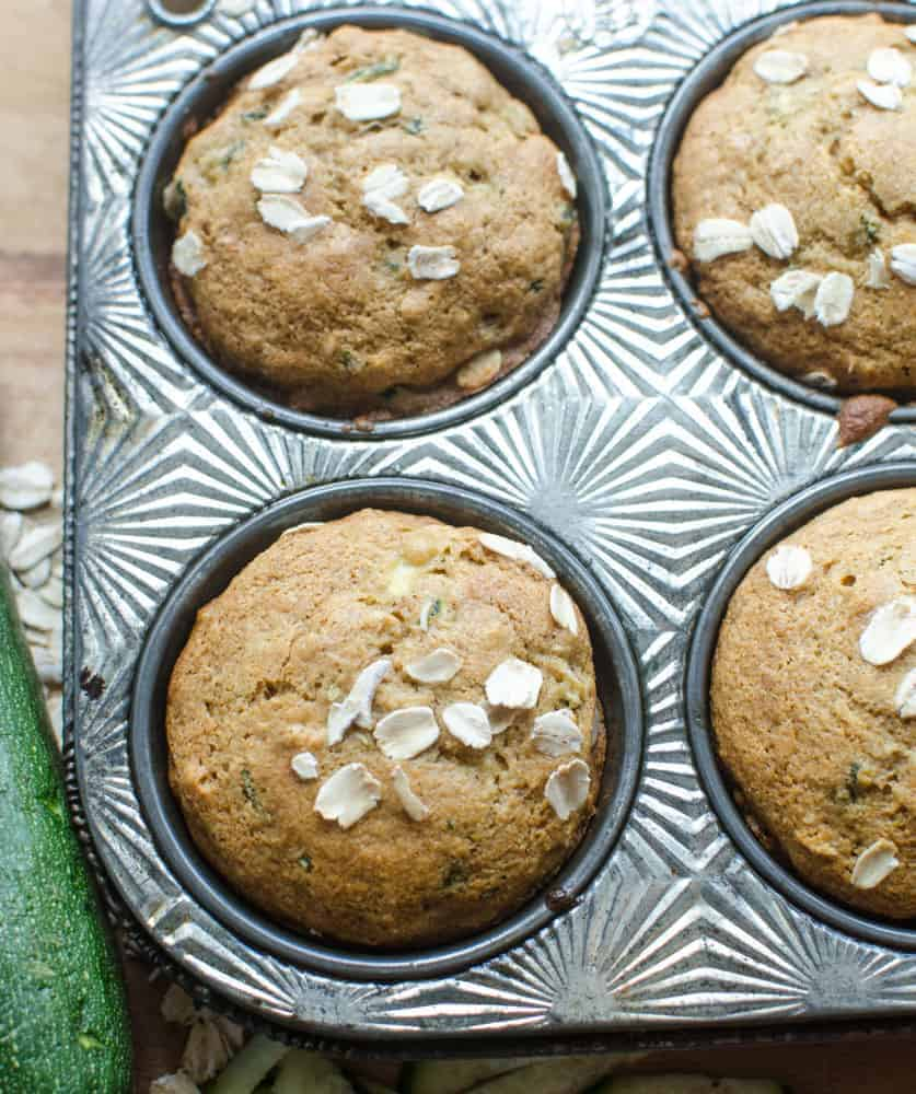 Whole Grain Zucchini Muffins the whole family will love.