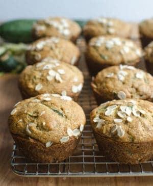 Rack of whole grain zucchini muffins