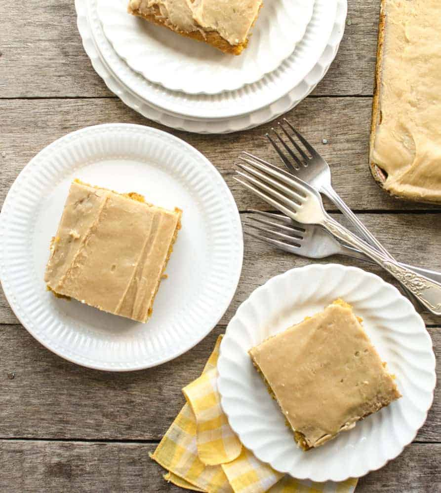 Easy pumpkin sheet cake with a rich caramel icing that will feed a crowd!