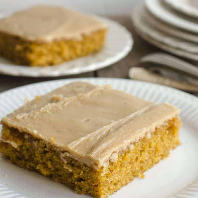 Pumpkin Sheet Cake with Caramel Frosting