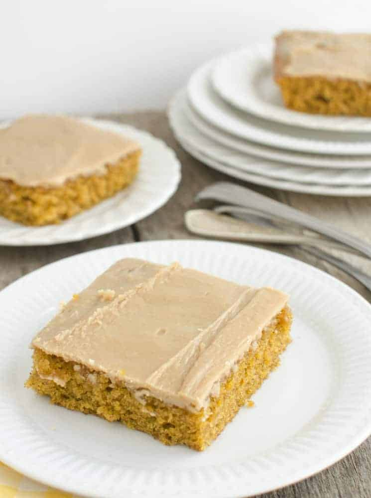 Pumpkin Sheet Cake with Caramel Frosting that will feed a crowd!