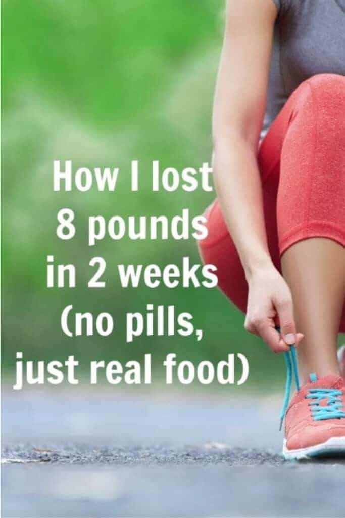 Title Image for How I lost 8 Pounds in 2 Weeks (no pills, just real food) with a green outdoor background and a woman lacing up athletic shoes