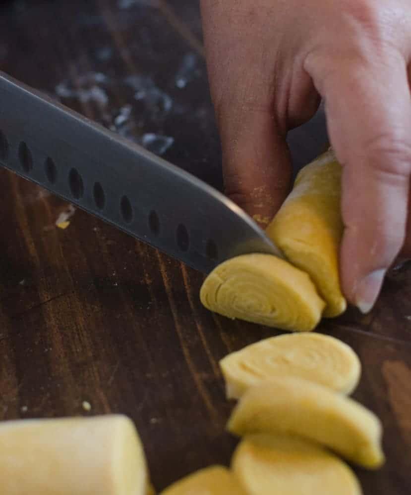 Homemade Pumpkin Noodles - Slicing