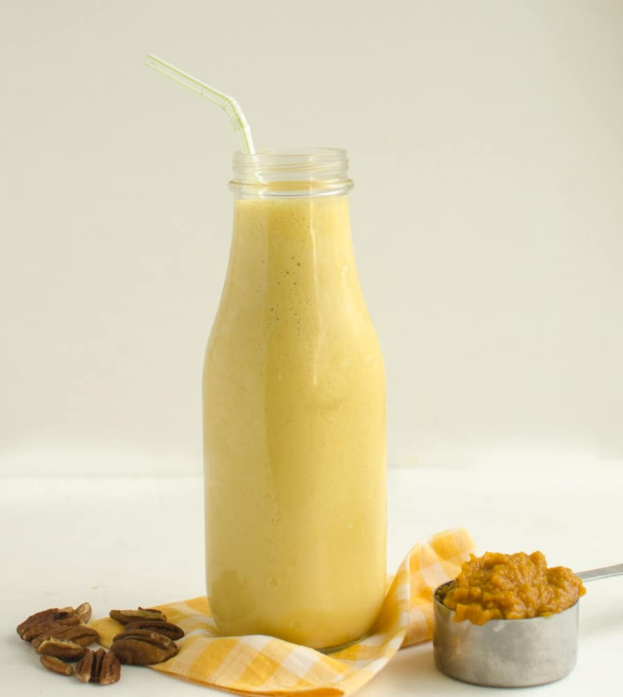 This Healthy Pumpkin Protein Smoothie is a little taste of fall that you can have for breakfast!