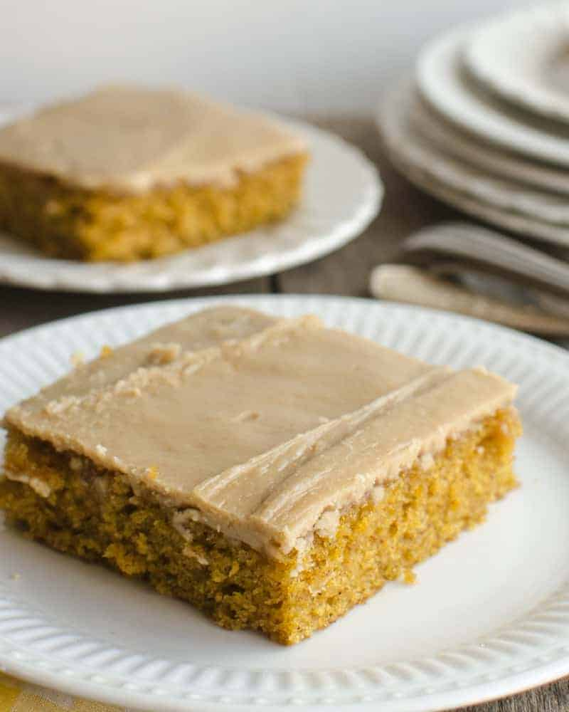This easy pumpkin sheet cake has a rich caramel frosting that is sure to be a crowd pleaser! A perfect addition to your autumn baking adventures.