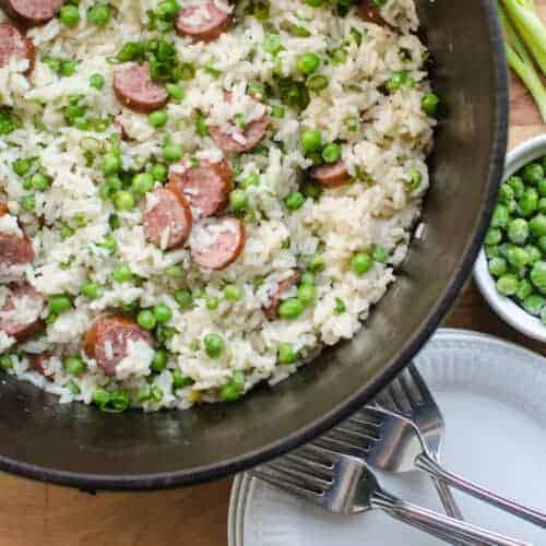 One-Pot Sausage, Rice, and Peas Dinner