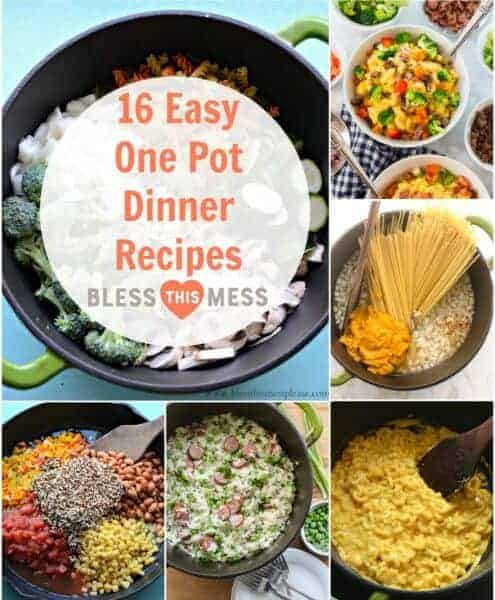 16 easy-peasy one pot dinner recipes to help you get through a busy season. There is something here for everyone!