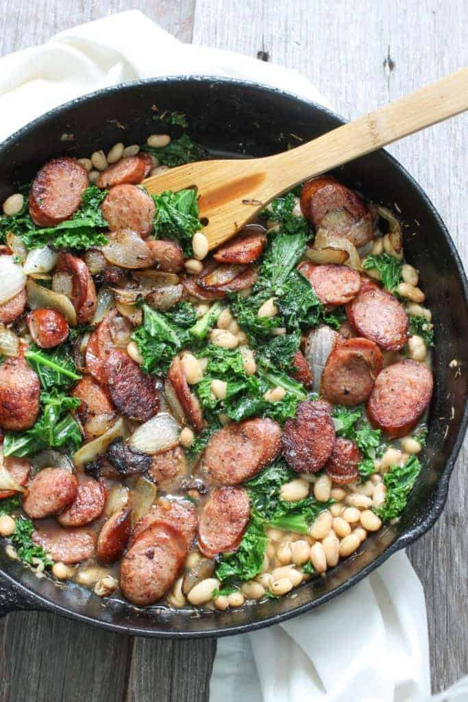 One Skillet Meals - Andouille, Greens and Beans Pan Stew