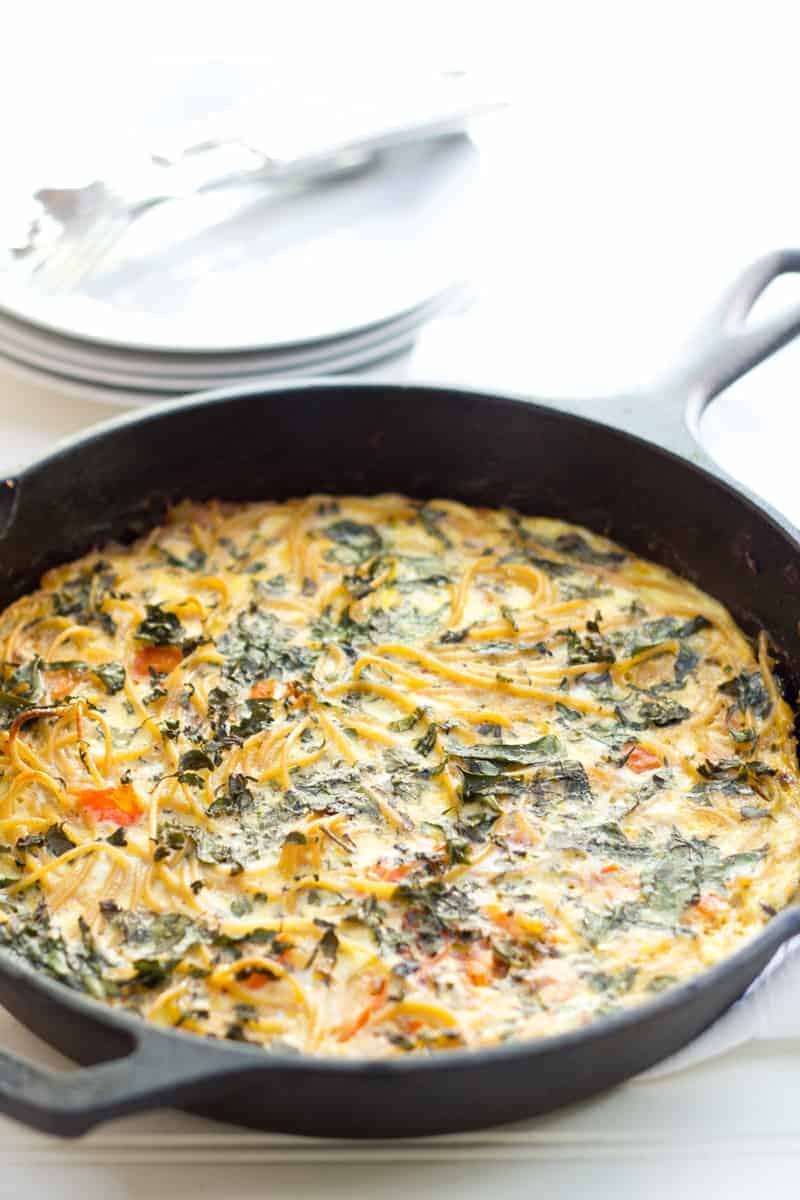 One Skillet Meals - Leftover Spaghetti Frittata