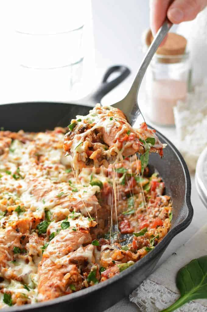 One Skillet Meals - Cheesy Italian One Pot Chicken and Rice