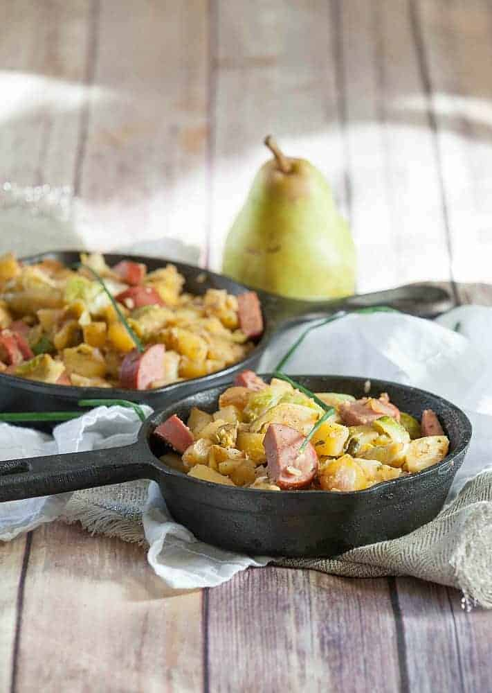 One Skillet Meals - Kielbasa, Brussel Sprouts, Potato & Pear Skillet