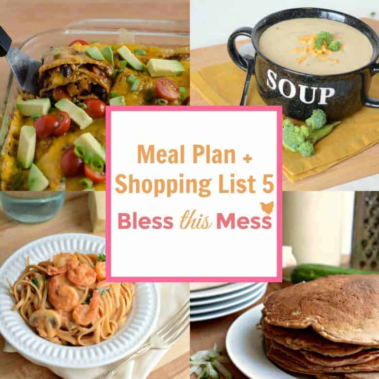 Meal Planner 5 with Printable Shopping List