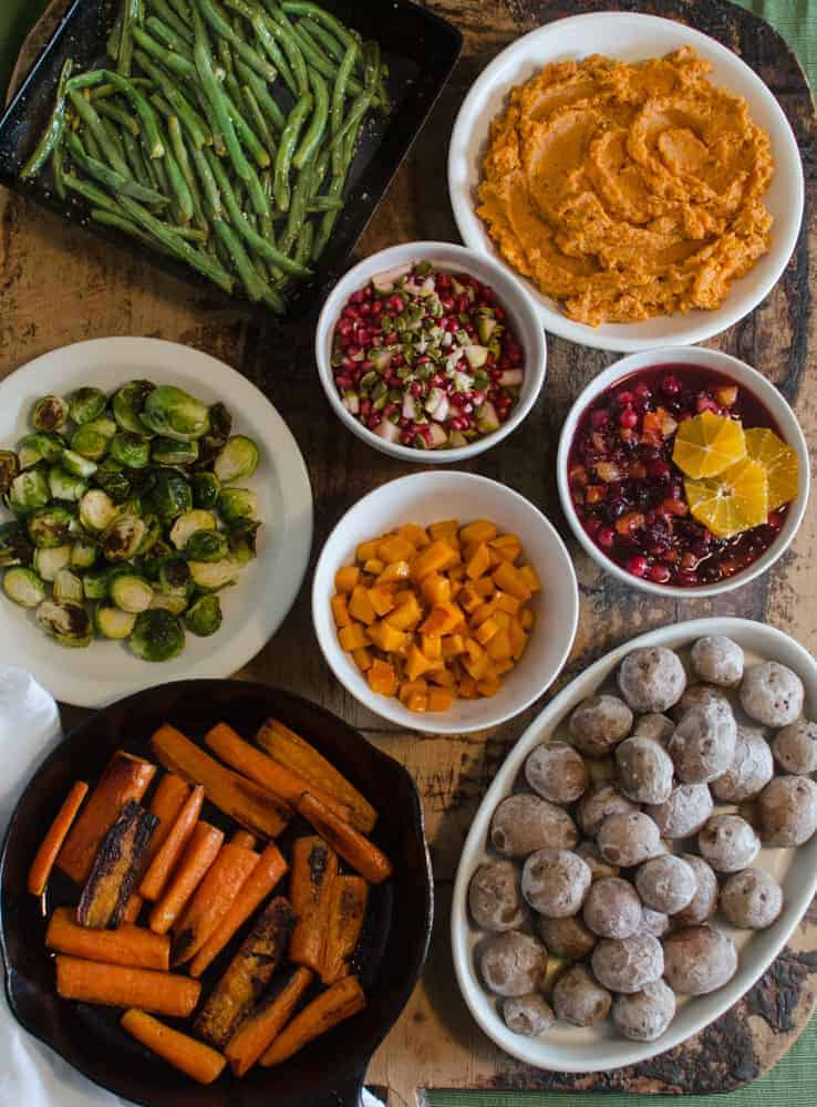 Five Ingredient Sides will save you time on Thanksgiving - and there are 8 easy recipes for them here! Bonus: everything is easily made vegan/gluten-free.