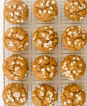Healthy Pumpkin Muffinsmade with oats, real maple syrup and whole wheat flour are perfect for breakfast, snacks, or a dinner side!