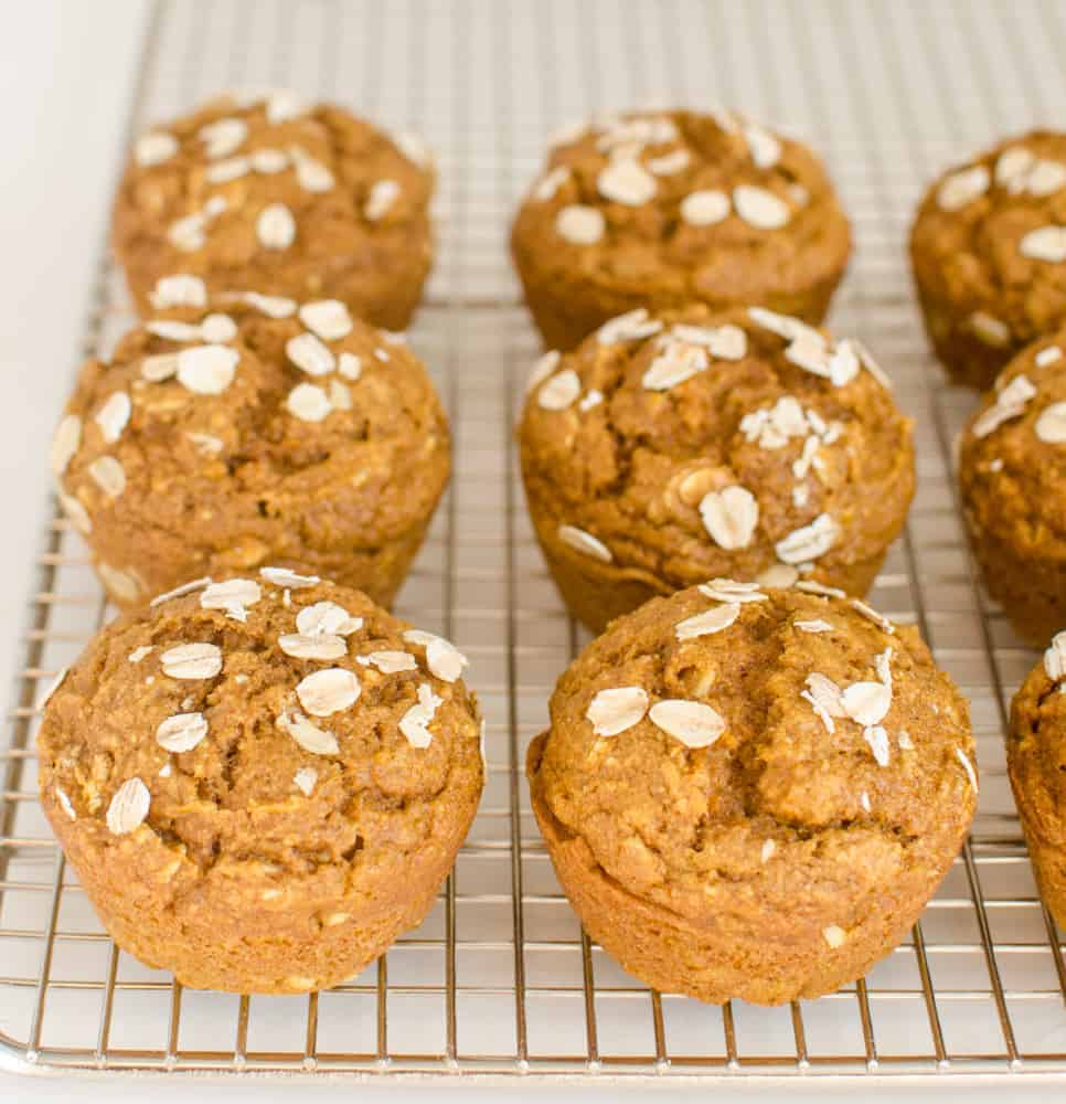 These healthy pumpkin muffins are vegan and made with whole grains.