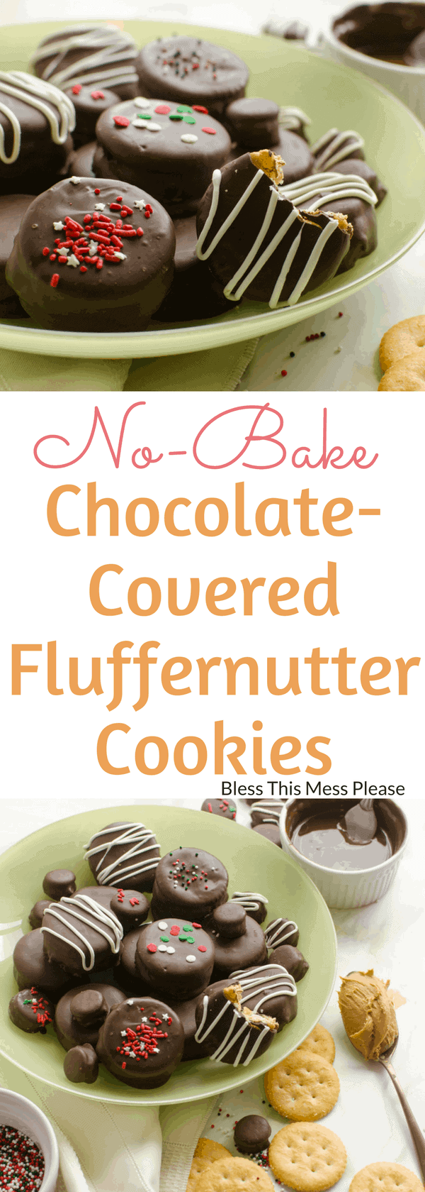 No-Bake Chocolate-Covered Fluffernutter Cookies