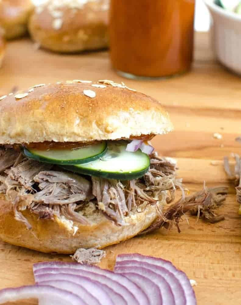 Slow Cooker Pulled Pork Sandwiches + Homemade BBQ Sauce